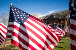 field of american flags in perspective